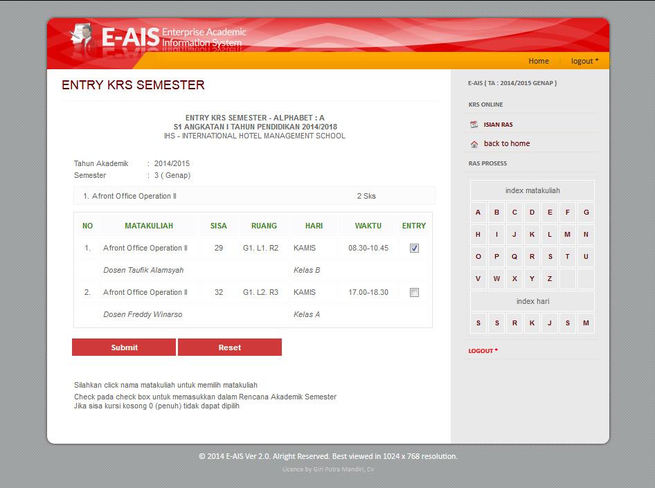entry ambil mata kuliah online