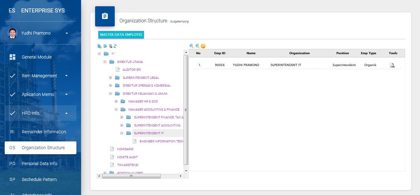 manajemen struktur organisasi  sistem software hris payroll ess