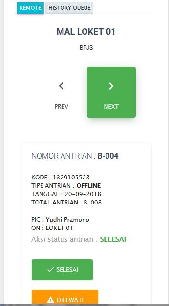 preview remote info antrian