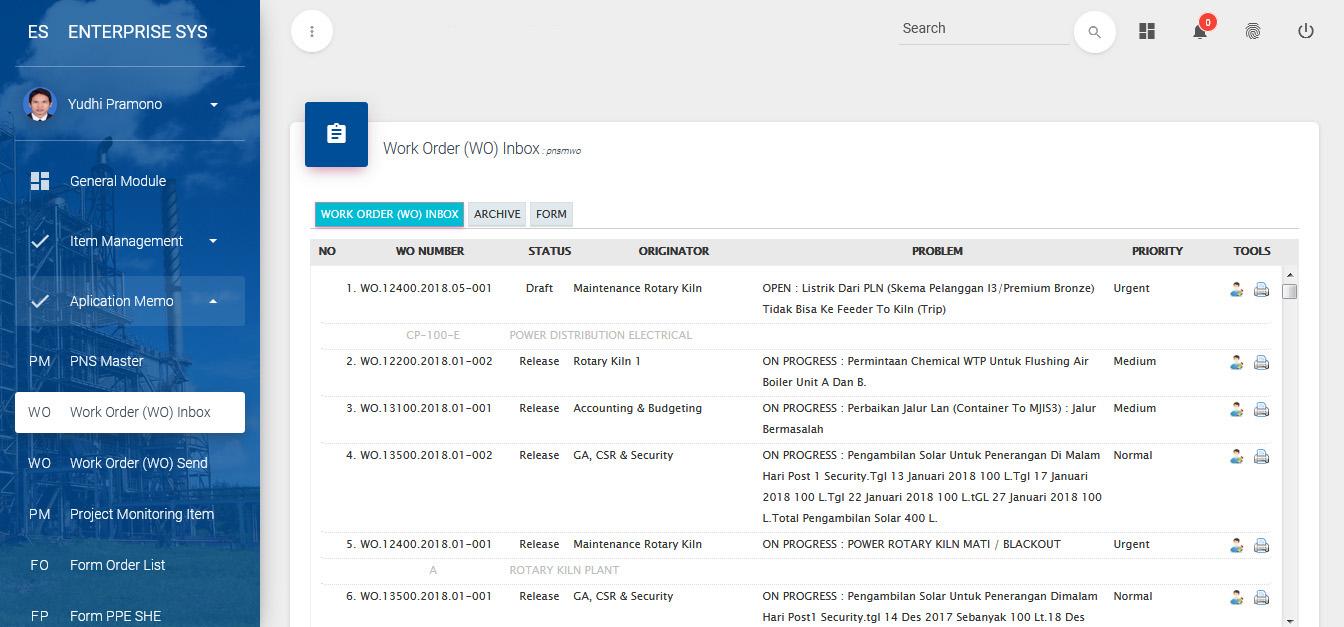 work order system inbox
